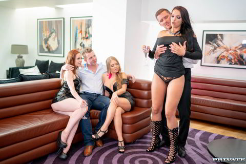 Alessandra Jane, Ella Hughes, Jolee Love - Party Time with Three Horny Stars - 4k orgies video