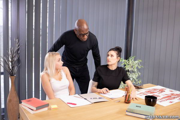 Billie Star, Marilyn Sugar - Interracial Threesome with the Professor