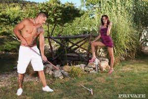 Sophie Lynx jerks off the gardener 1