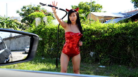 Jade Kush - Big asian tits in sexy costume - Stranded Teens HD video