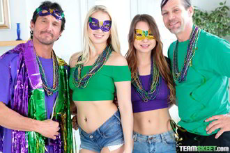 Sierra Nicole and Taylor Sands Mardi Gras Madness Pt. 1 - Daughter Swap HD video