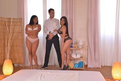 Kesha Ortega and Sheila Ortega - Two Heavenly Latina Girls With Huge Boobs Fuck A Massage Client - bustylover FullHD porn video